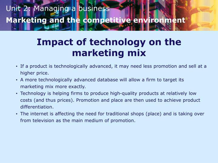Impact of technology on the marketing mix
