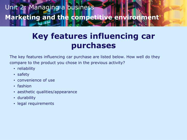 Key features influencing car purchases