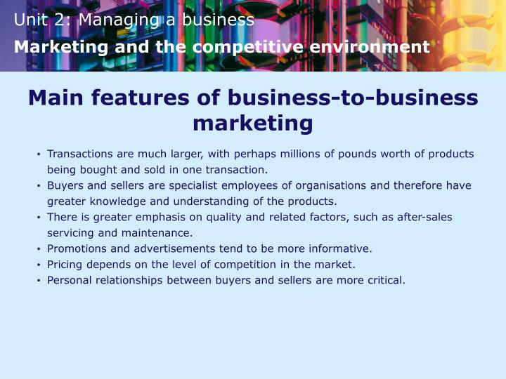Main features of business-to-business marketing