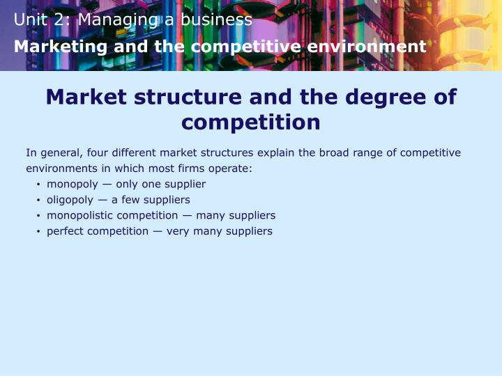 Market structure and the degree of competition