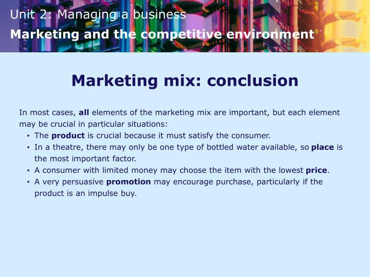 Marketing mix: conclusion
