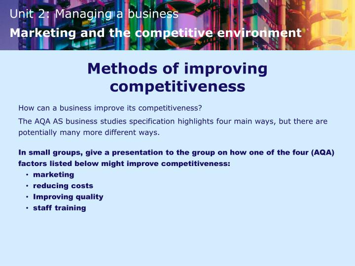 Methods of improving competitiveness