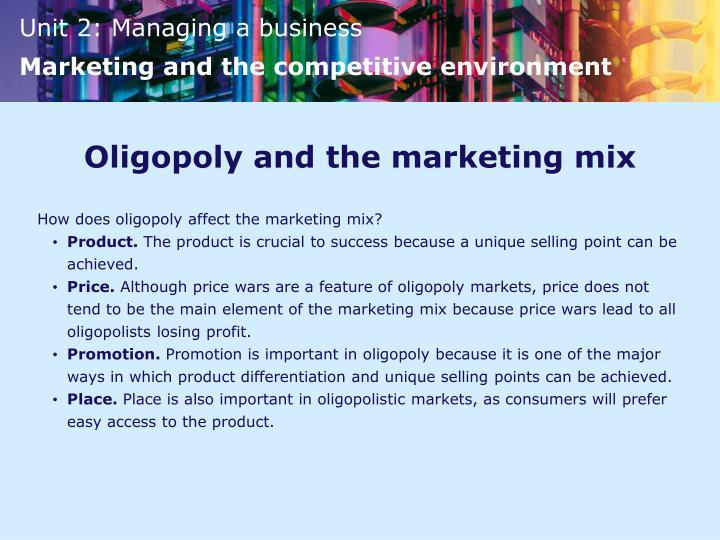 Oligopoly and the marketing mix