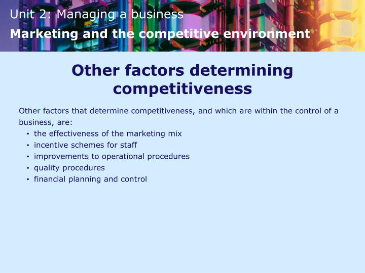 Other factors determining competitiveness