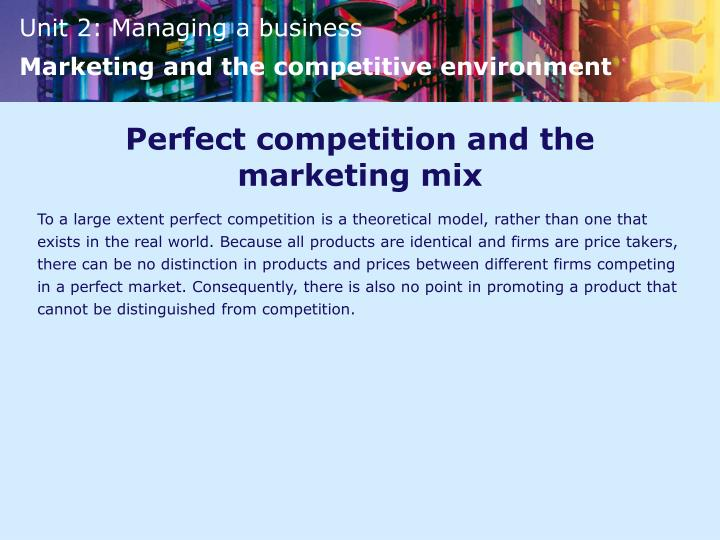Perfect competition and the marketing mix