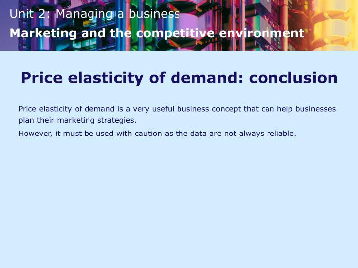 Price elasticity of demand: conclusion