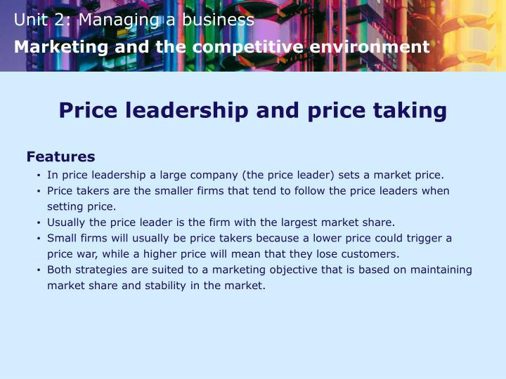 Price leadership and price taking