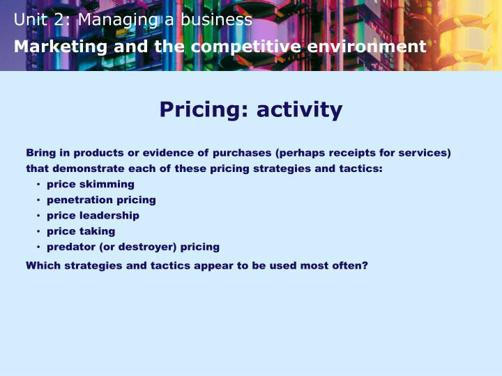 Pricing: activity