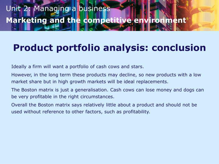 Product portfolio analysis: conclusion