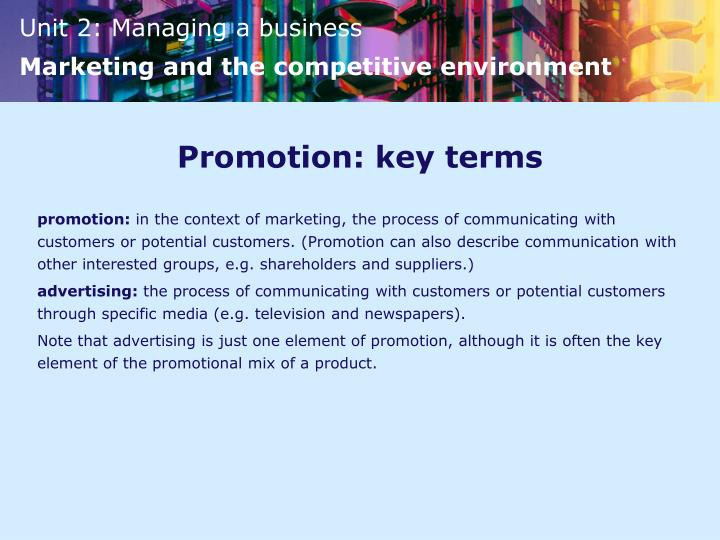 Promotion: key terms