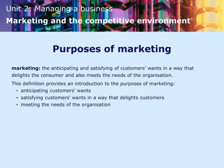 Purposes of marketing