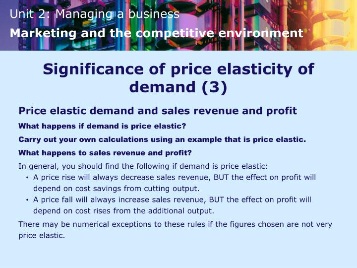 Significance of price elasticity of demand (3)