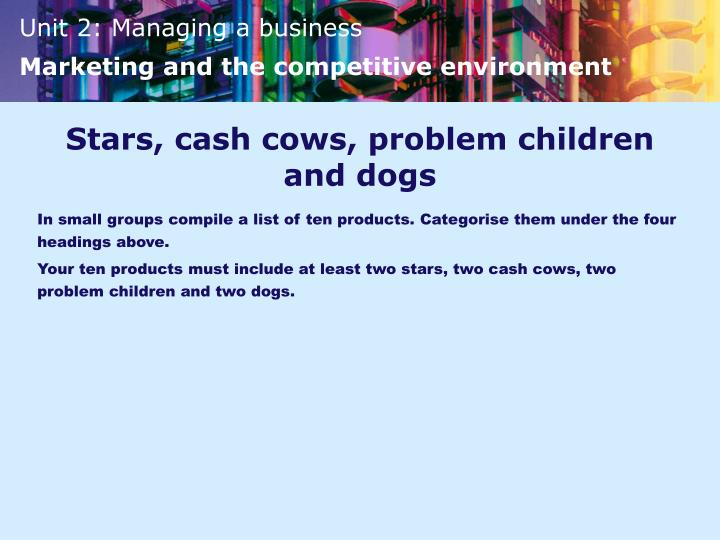 Stars, cash cows, problem children and dogs