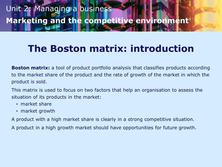 The Boston matrix: introduction