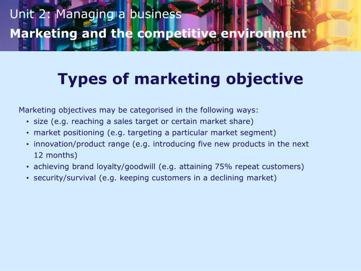 Types of marketing objective