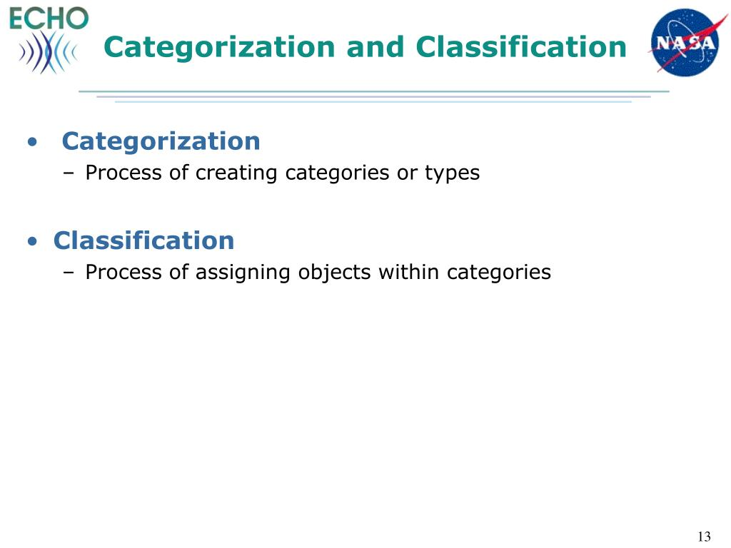 Categorization and Classification