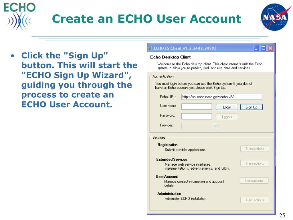 Create an ECHO User Account
