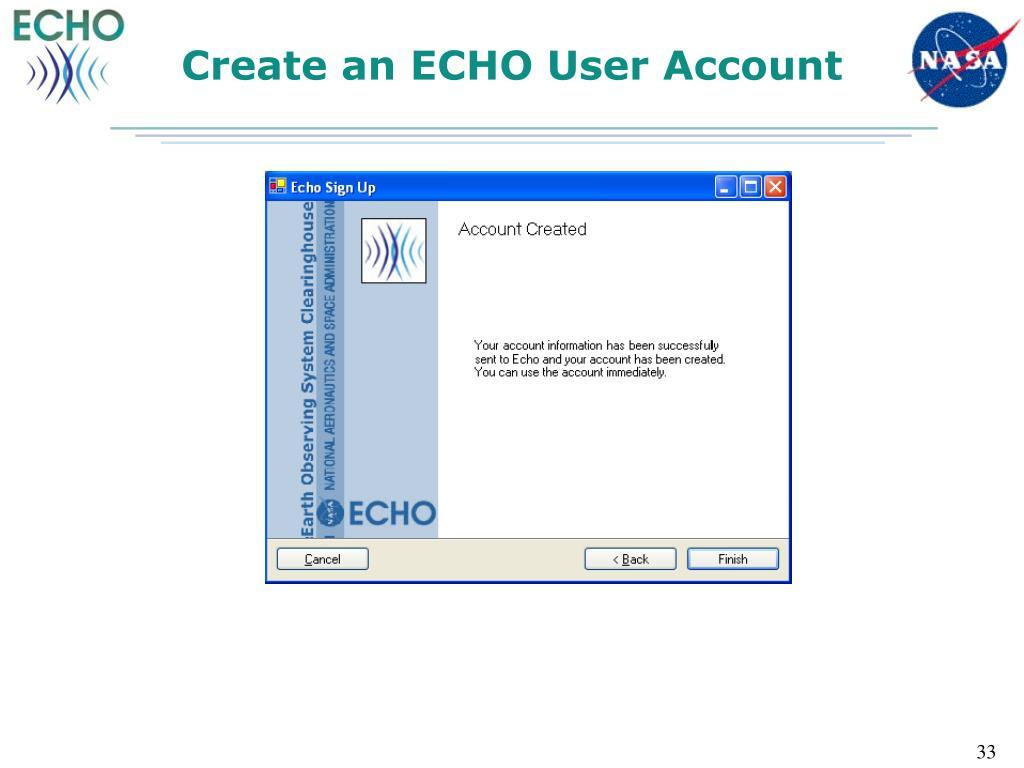 Create an ECHO User Account