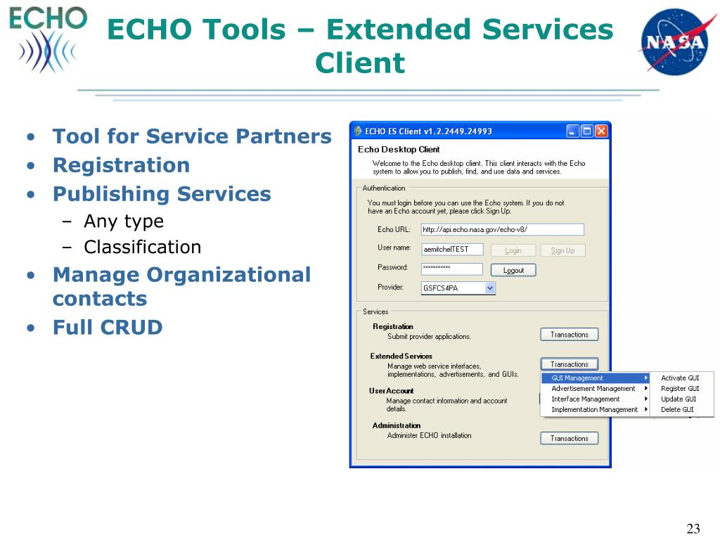 ECHO Tools – Extended Services Client