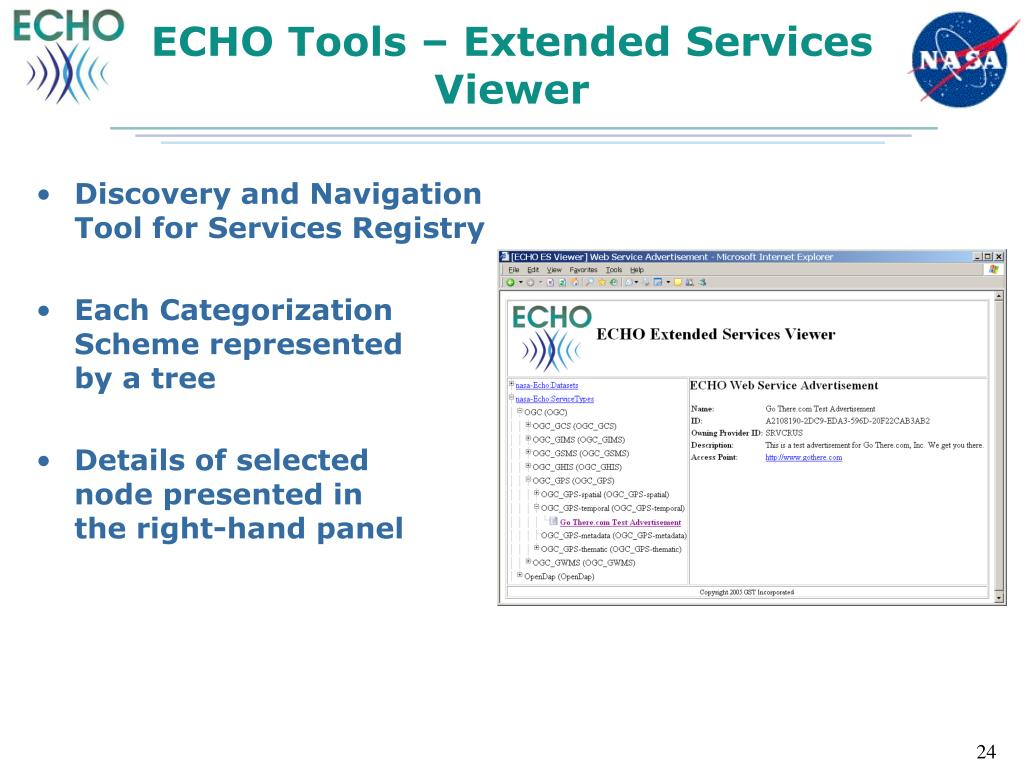 ECHO Tools – Extended Services Viewer