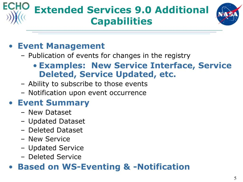 Extended Services 9.0 Additional Capabilities