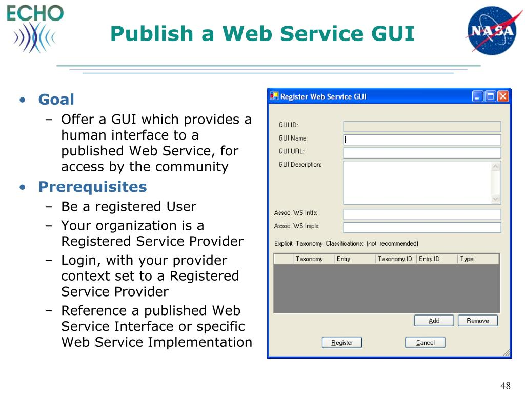 Publish a Web Service GUI