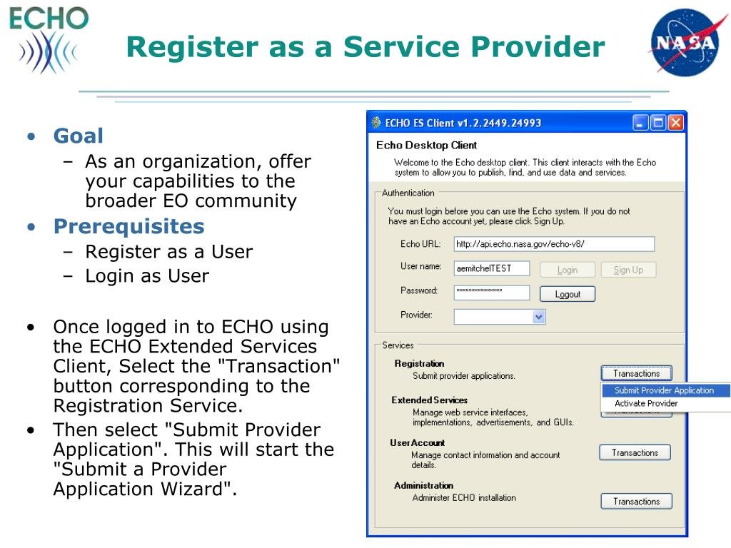 Register as a Service Provider
