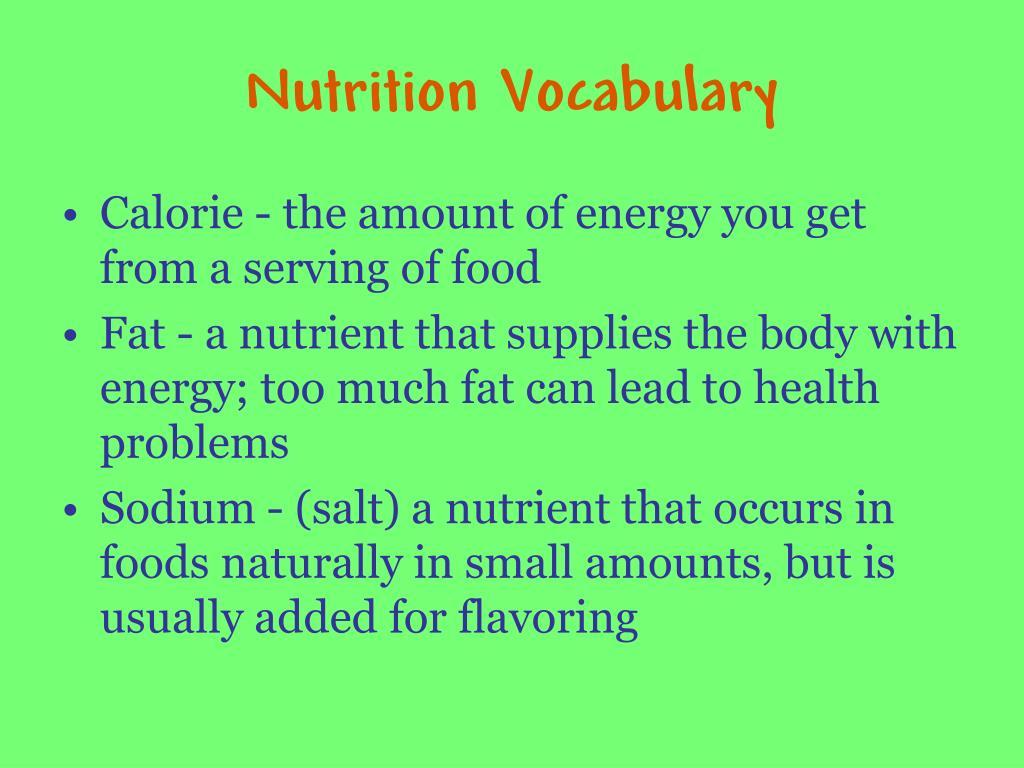 Nutrition Vocabulary
