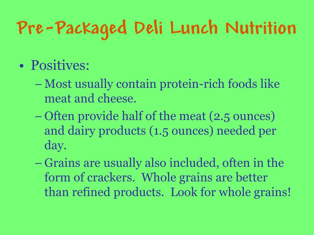 Pre-Packaged Deli Lunch Nutrition