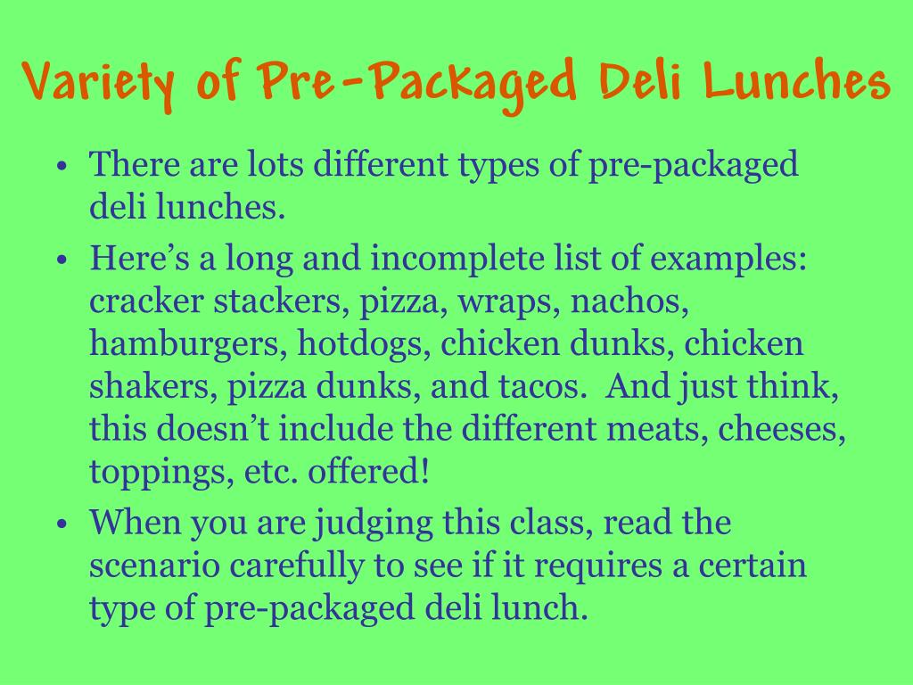 Variety of Pre-Packaged Deli Lunches