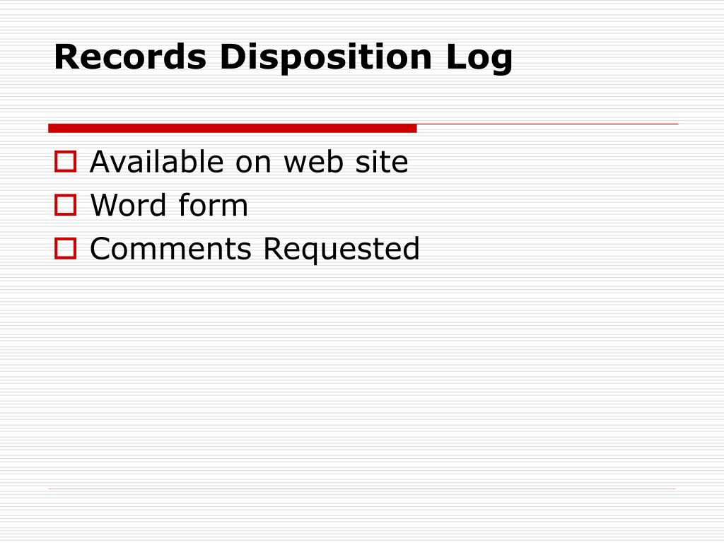 Records Disposition Log