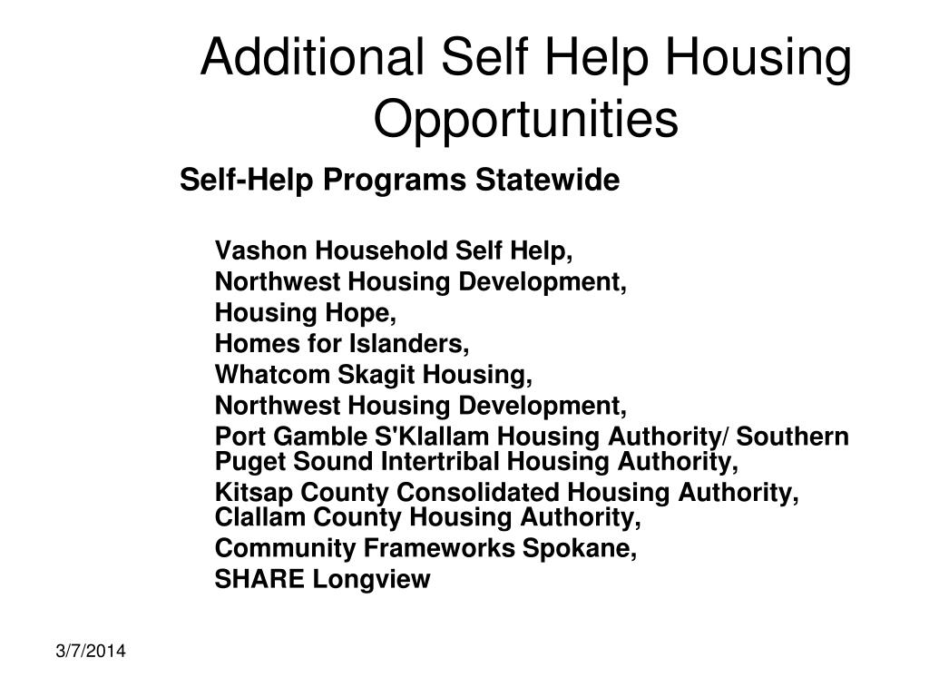 Additional Self Help Housing Opportunities