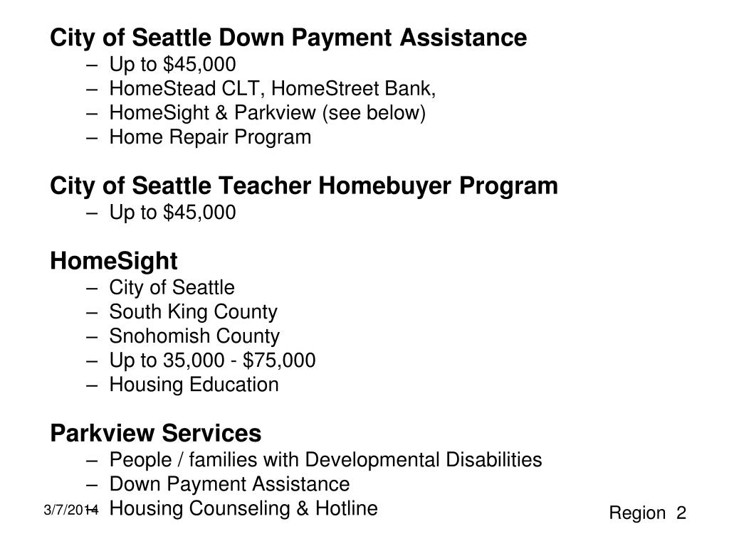 City of Seattle Down Payment Assistance