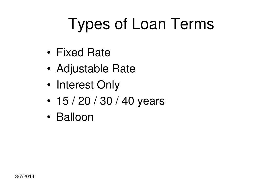 Types of Loan Terms