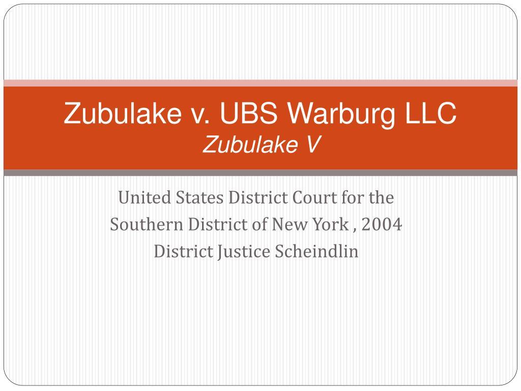 Zubulake v. UBS Warburg LLC