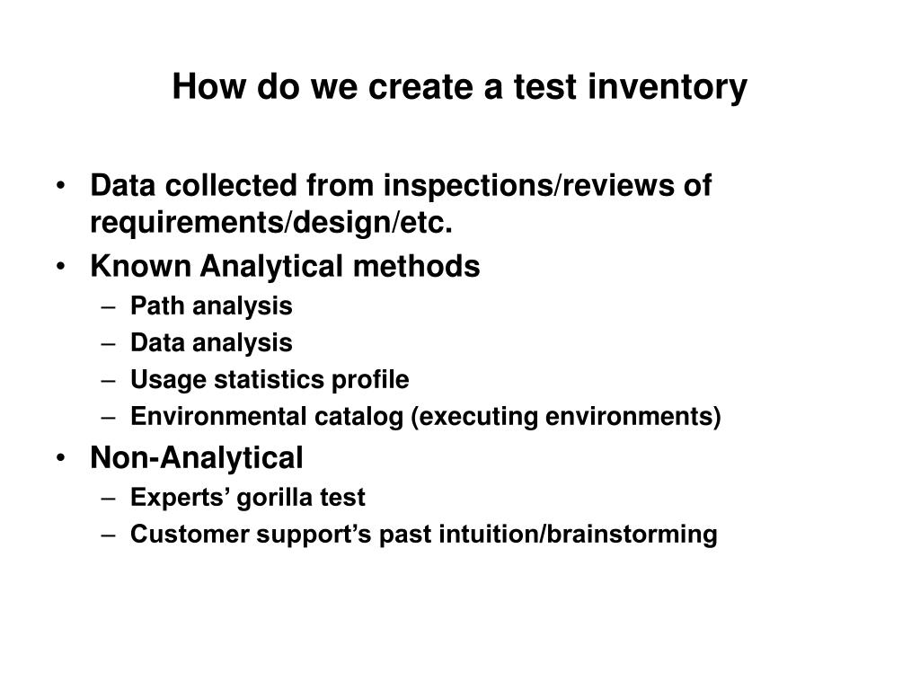 How do we create a test inventory