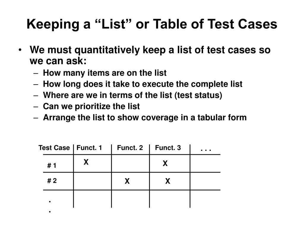 """Keeping a """"List"""" or Table of Test Cases"""