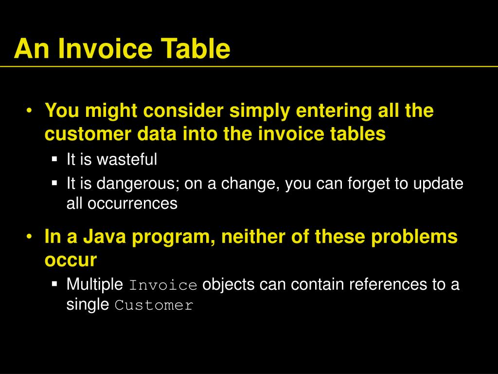 An Invoice Table