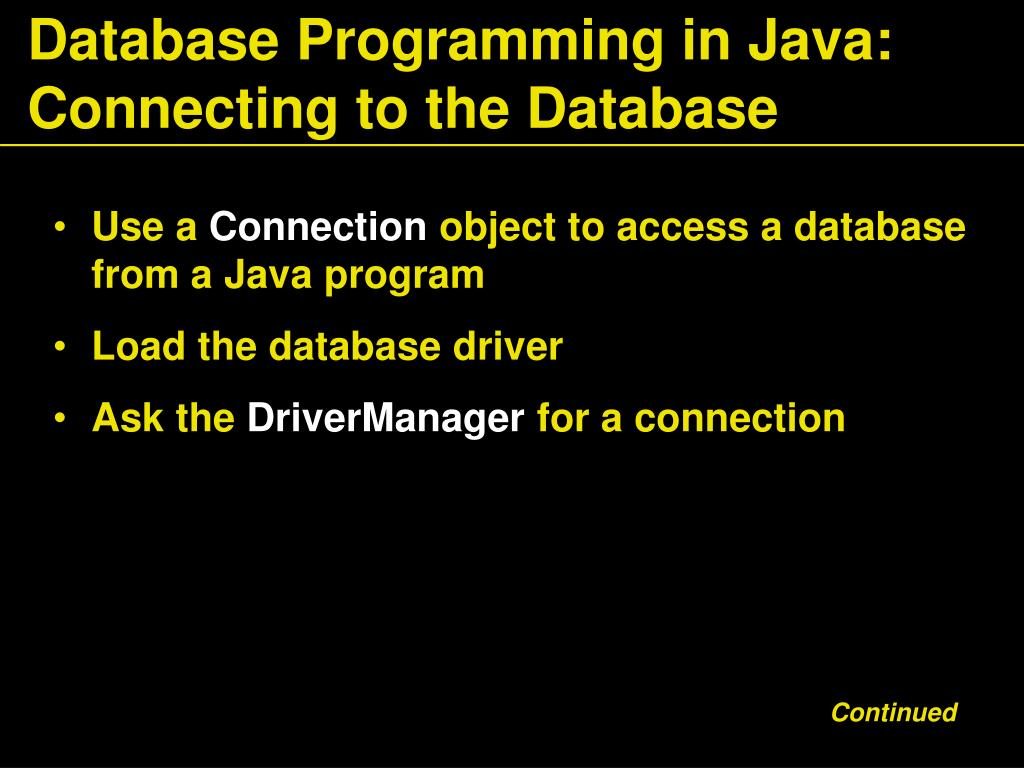 Database Programming in Java: Connecting to the Database