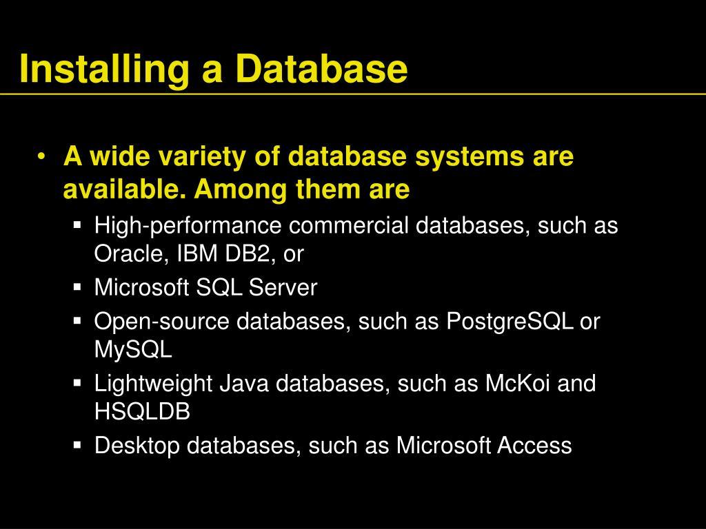 Installing a Database
