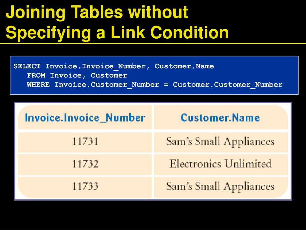 Joining Tables without Specifying a Link Condition