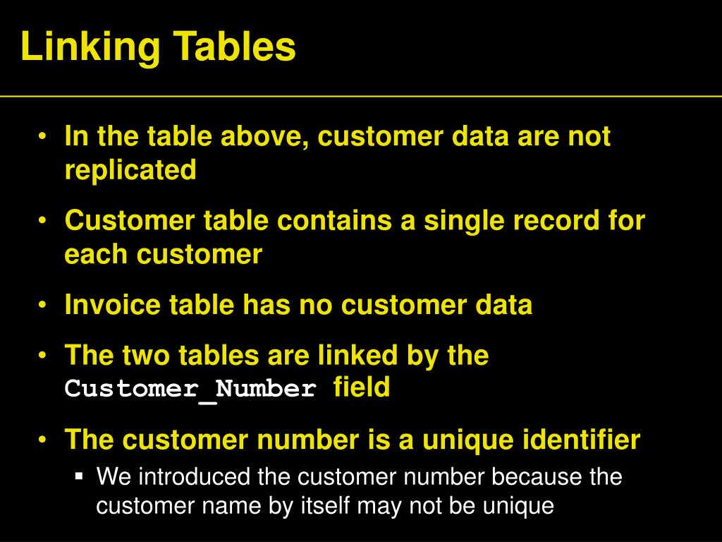 Linking Tables