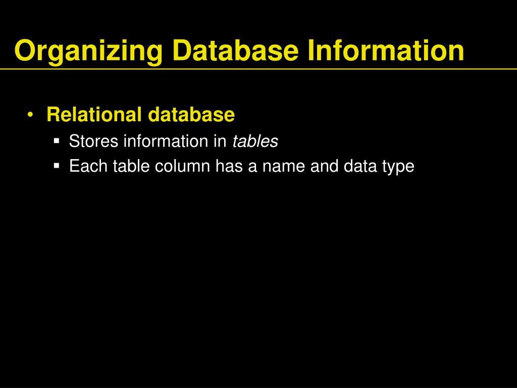 Organizing Database Information