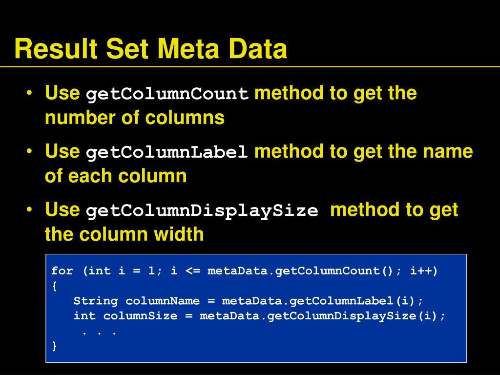 Result Set Meta Data