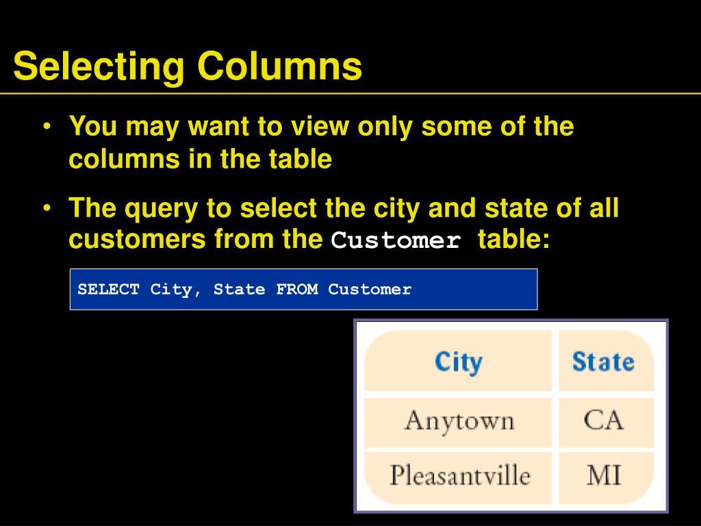 Selecting Columns