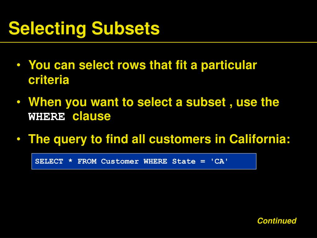 Selecting Subsets