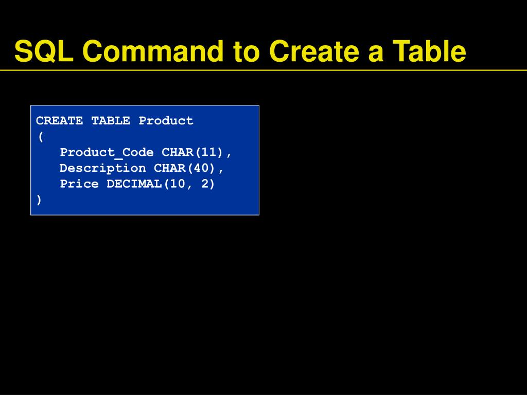 SQL Command to Create a Table