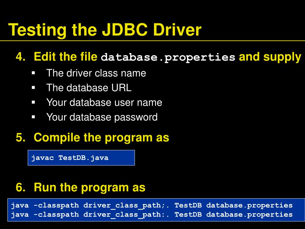 Testing the JDBC Driver