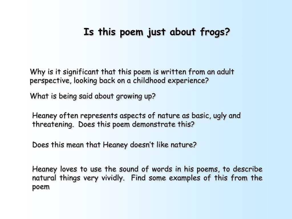 Is this poem just about frogs?