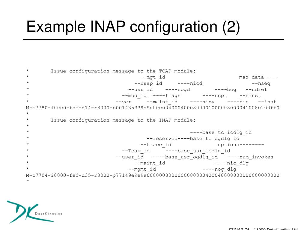Example INAP configuration (2)